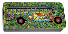 Peace And Love Hippie Bus Portable Battery Charger by Jim Harris