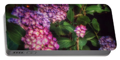 Portable Battery Charger featuring the photograph Peace Garden - Purple Hydrangeas by Miriam Danar