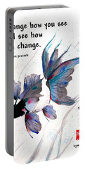 Peace In Change With Zen Proverb Portable Battery Charger