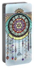 Portable Battery Charger featuring the drawing Peace Kite Dangle Illustration Art by Deborah Smith