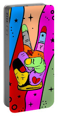 Peace Popart By Nico Bielow Portable Battery Charger by Nico Bielow
