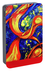 Portable Battery Charger featuring the painting Peaceful Coexistence by Rae Chichilnitsky
