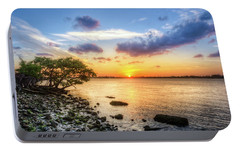 Portable Battery Charger featuring the photograph Peaceful Evening On The Waterway by Debra and Dave Vanderlaan