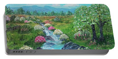 Portable Battery Charger featuring the painting Peaceful Meadow by Sonya Nancy Capling-Bacle