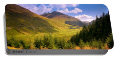 Peaceful Sunny Day In Mountains. Rest And Be Thankful. Scotland Portable Battery Charger