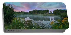 Peaceful Sunrise At Lake. Altai Portable Battery Charger