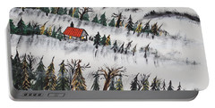 Portable Battery Charger featuring the painting Peaceful Winter Daybreak by Jeffrey Koss