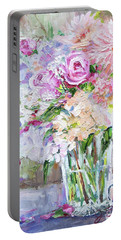 Peach And Pink Bouquet Portable Battery Charger