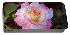 Peach And White Rose Portable Battery Charger