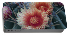 Peach Barrel Cactus Flowers Portable Battery Charger
