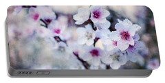 Peach Flowers Portable Battery Charger by Laura Melis
