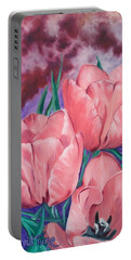 Peach Pink Tulips Portable Battery Charger
