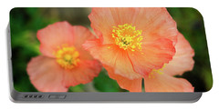 Peach Poppies Portable Battery Charger by Sally Weigand