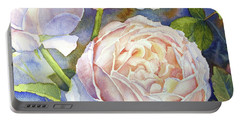 Portable Battery Charger featuring the painting Peach Roses by Bonnie Rinier