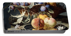 Peaches And Plums In A Wicker Basket, Peaches On A Silver Dish And Narcissi On Stone Plinths Portable Battery Charger