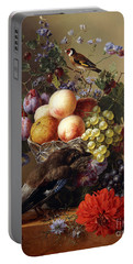 Peaches, Grapes, Plums And Flowers In A Glass Vase With A Jay On A Ledge Portable Battery Charger
