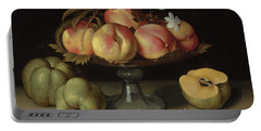Peaches In A Glass Bowl, Apples And Jasmine Flowers Portable Battery Charger