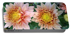 Peachy Chrysanthemums Portable Battery Charger