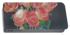 Portable Battery Charger featuring the painting Peachy Glow by Arlene Crafton