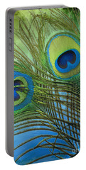 Peacock Candy Blue And Green Portable Battery Charger by Mindy Sommers