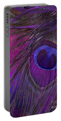 Peacock Candy Purple  Portable Battery Charger by Mindy Sommers