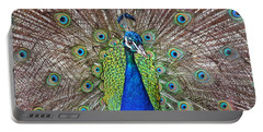 Portable Battery Charger featuring the photograph Peacock Displaying His Plumage by Jim Fitzpatrick