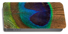 Peacock Feather Macro Detail Portable Battery Charger