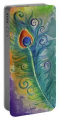 Peacock Feather Mural Portable Battery Charger