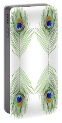 Peacock Feathers Portable Battery Charger by D Renee Wilson