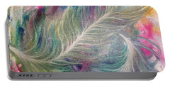 Peacock Feathers Pastel Portable Battery Charger by Denise Hoag