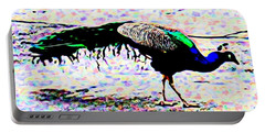 Peacock In Abstract Portable Battery Charger