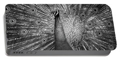 Peacock In Black And White Portable Battery Charger