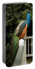 Portable Battery Charger featuring the photograph Peacock On A Fence by Jean Noren
