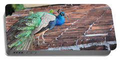 Peacock On Rooftop Portable Battery Charger