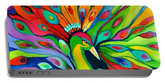 Peacock On The 4th Of July Portable Battery Charger