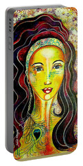 Portable Battery Charger featuring the mixed media Peacock Princess by Julie Hoyle
