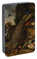 Portable Battery Charger featuring the painting Peacocks by Melchior d'Hondecoeter