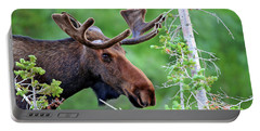 Portable Battery Charger featuring the photograph Peaking Moose by Scott Mahon