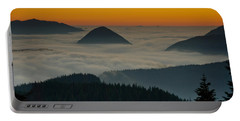 Peaks Above The Fog At Sunset Portable Battery Charger