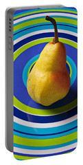 Pear On Plate With Circles Portable Battery Charger