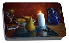 Portable Battery Charger featuring the photograph Pears By Candlelight by Mark Fuller
