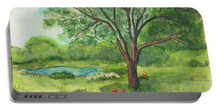 Portable Battery Charger featuring the painting Pedro's Tree by Vicki  Housel