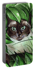 Portable Battery Charger featuring the painting Peek A Boo Siamese Cat by Dora Hathazi Mendes