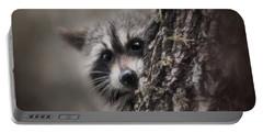 Peekaboo Raccoon Art Portable Battery Charger by Jai Johnson