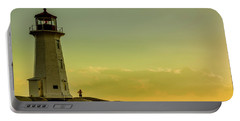 Peggys Cove Lighthouse At Sunset  Portable Battery Charger