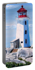 Portable Battery Charger featuring the painting Peggy's Cove Lighthouse by Marilyn  McNish
