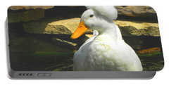 Portable Battery Charger featuring the photograph Pekin Pop Top Duck by Sandi OReilly