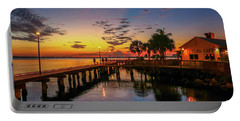 Pelican Cafe Sunrise Portable Battery Charger by Tom Claud