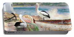 Portable Battery Charger featuring the digital art  Pelican Cove by Trudi Simmonds