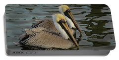 Portable Battery Charger featuring the photograph Pelican Duo by Jean Noren